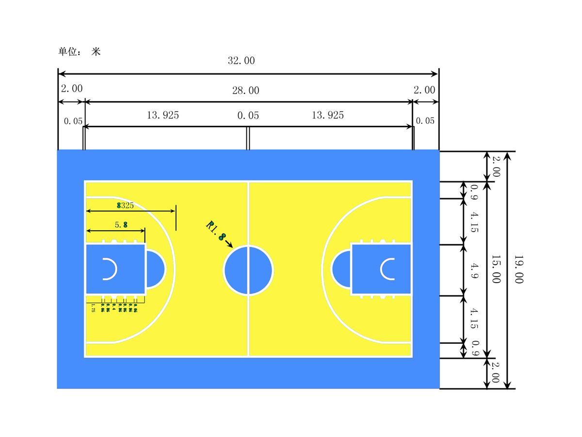 篮球场黄蓝配